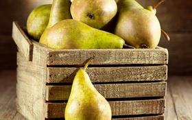 Обои фрукты, ящик, груши