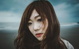Картинка гроза, пляж, девушка, лицо, волосы, губы, серые облака