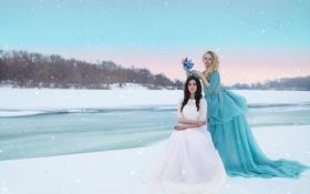 Картинка зима, снег, девушки, чай, волосы, чашка, сумерки