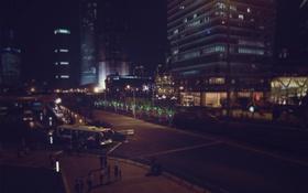Картинка дорога, ночь, город, дома