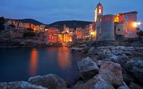 Картинка море, горы, ночь, огни, камни, башня, дома
