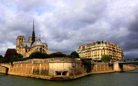 Обои тучи, Сена, Франция, Париж, собор парижской богоматери, остров Сите, река