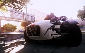 Обои город, автомобиль, ракурс, need for speed most wanted 2, Lotus caterham seven superlight r500