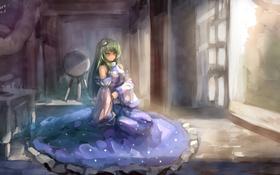 Картинка сидит, kochiya sanae, девушка, touhou, art, myero, краски