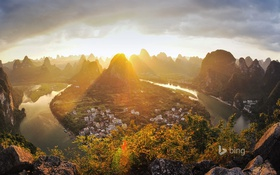 Обои горы, город, скалы, дома, Китай, Гуанси, Xingping