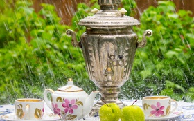 Обои дождь, посуда, самовар