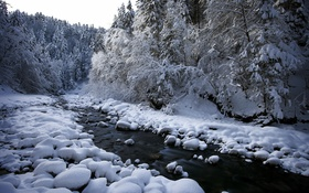 Картинка снег, природа, река