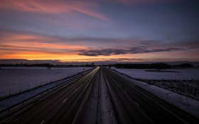 Обои зима, закат, дорога
