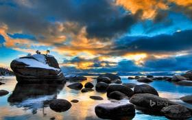 Обои закат, камни, Lake, небо, Tahoe, облака, тахо