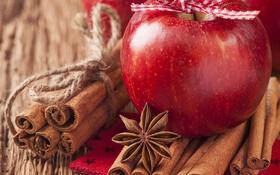 Обои яблоки, корица, гвоздика