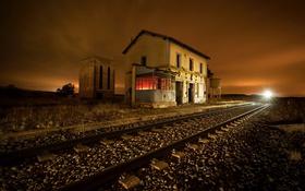 Обои ночь, станция, железная дорога