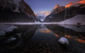 Обои зима, лес, небо, горы.озеро