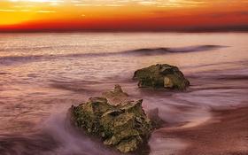 Обои море, небо, облака, камни, берег, вечер, отлив
