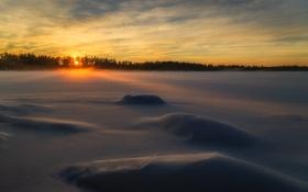 Картинка утро, поле, снег, зима