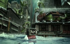 Обои улица, человек, здания, растения, Город, потоп