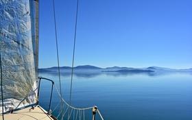 Обои небо, горы, остров, яхта, Италия, парус, Умбрия