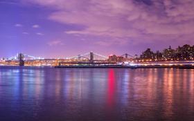 Обои вода, ночь, город, lights, огни, небоскрёбы, panorama