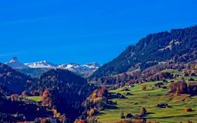 Обои осень, трава, деревья, горы, дома, Швейцария, долина