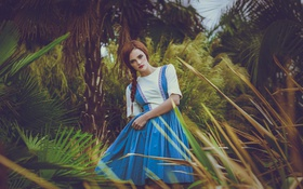 Картинка волосы, платье, девушка, лицо, природа