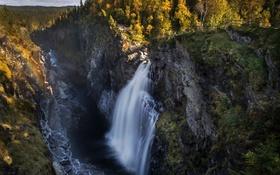 Обои небо, деревья, горы, река, скалы, водопад, поток