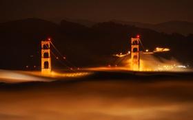 Обои ночь, огни, туман, hdr, опора, Сан-Франциско, мост Золотые Ворота