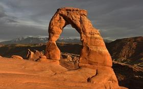 Обои США, Юта, арка, небо, Arches National Park, горы, скала
