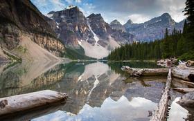 Обои горы, природа, озеро, Lake Minnewanka