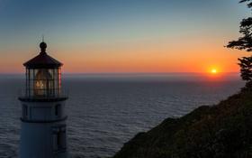 Обои закат, маяк, небо, море