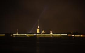 Обои ночь, стена, темно, Питер, огоньки, фонари, канал
