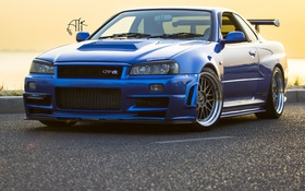 Обои Blue, BBS, Mugen, Skyline GTR