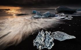 Обои море, пляж, тучи, льдины, Исландия