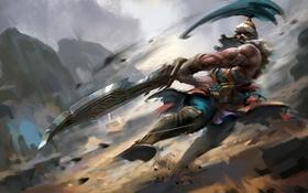 Обои меч, воин, арт, герой, art, lol, Tryndamere
