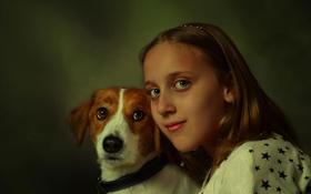 Обои собака, девочка, друзья