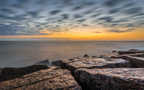 Обои море, небо, облака, камни, скалы, рассвет, сша