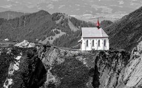 Обои горы, дом, обрыв, скалы, церковь, ущелье