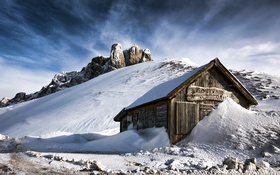 Картинка house, cabin, snowy mountains