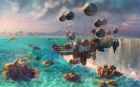 Картинка море, вода, город, камни, шары, вид, водопады