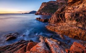 Обои море, закат, скалы, Tasmania, Freycinet National Park