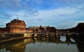 Обои небо, мост, город, река, фото, Италия, Rome