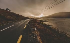 Картинка озеро, дождливый, линии электропередачи, солнечный свет, дорога, облака