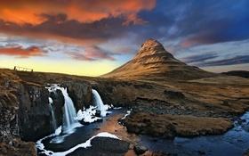 Обои река, гора, водопад