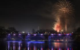 Картинка небо, ночь, мост, огни, река, салют, Шотландия