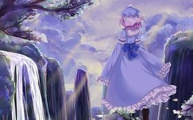Картинка девушка, пейзаж, дерево, скалы, водопад, ветка, арт