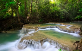 Картинка каскад, лес, река, деревья, поток