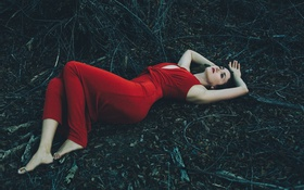 Картинка girl, sexy, forest, lips, red dress