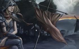 Обои девушка, diablo 3, мельница, сидя, знамя, ветер, арт