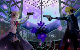Картинка оружие, девушки, аниме, арт, vocaloid, kagamine rin