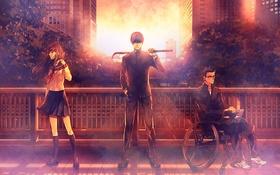 Картинка девушка, закат, мост, город, очки, ноутбук, школьная форма