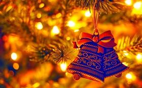 Обои огоньки, елка, Новый год, колокольчики