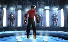 Обои robot, Valve, Team Fortress 2, bot, iron man, fan art, scout